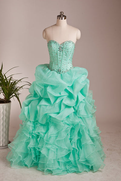 2018 evening gowns - Light green chiffon sweetheart A-line sequins tiered long prom dresses for teens,cute dresses