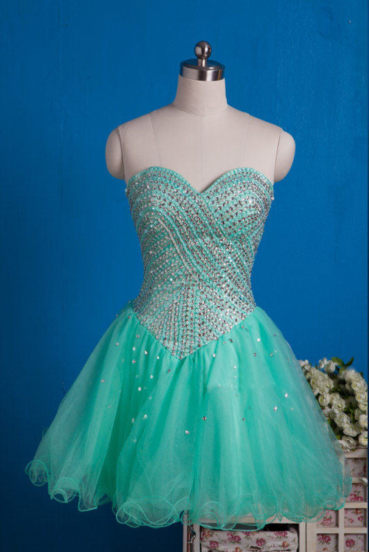 2018 evening gowns - Mint organza sweetheart A-line sequins beading short dresses,party dresses for teens