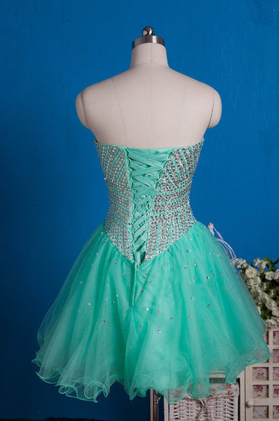 Mint organza sweetheart A-line sequins beading short dresses,party dresses for teens - occasion dresses by Sweetheartgirls