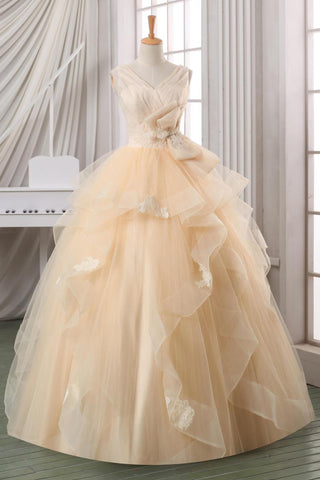 Prom 2020 | Ivory organza layering V-neck applique bowknot A-line ball gown dresses,wedding dresses