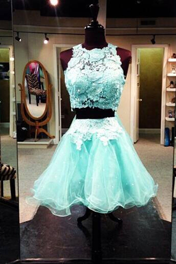 2018 evening gowns - Ice blue organza two pieces lace A-line short dress, cute dress for teens