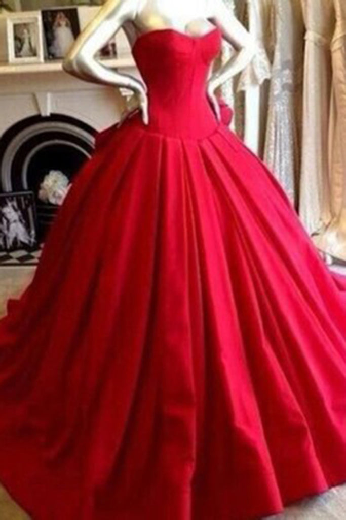 Red chiffon satins sweetheart A-line long ball gown dresses,simple ...