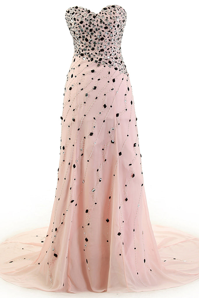 Sweet 16 Dresses | Pink chiffon sweetheart beading rhinestone train long dresses,princess evening dresses