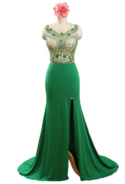 Prom 2020 | Green chiffon see-through beading round neck slit formal dresses,evening dresses