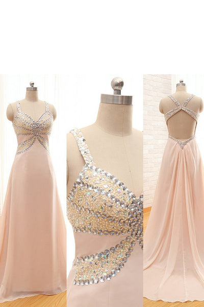 2018 evening gowns - Light chiffon V neck beading A-line cross back long prom dress,summer dresses for teens