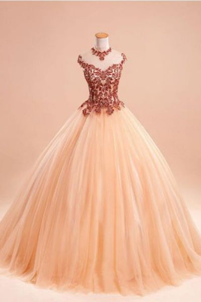 Light organza lace applique long dresses,princess ball gown dresses with straps - prom dresses 2018