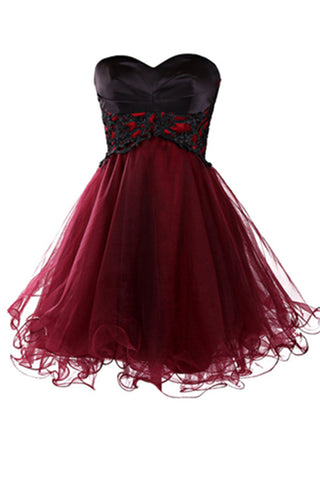 Burgundy tulle sweetheart A-line empire lace up short teenage prom dress, 2017 new bridemaids dress - Sweetheartgirls