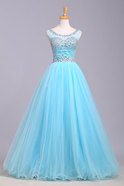 Prom 2020 | Baby blue organza round neck sequins A-line long prom dresses, cute graduation dresses