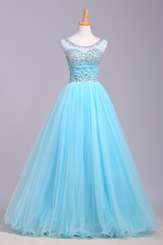Baby blue organza round neck sequins A-line long prom dresses, cute graduation dresses - prom dresses 2018