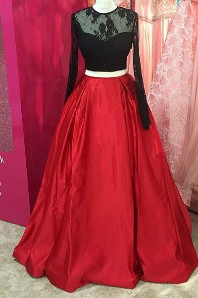 Sweet 16 Dresses | Red satins black lace long sleeves A-line long dresses,winter evening dresses
