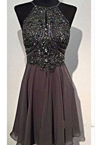 Prom 2020 | Coffee chiffon A-line sexy spathetti straps open back  mini beading prom dresses  evening dress