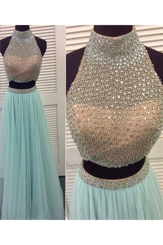 Prom 2020 | Light blue chiffon two pieces A-line sequins see-through  long prom dresses  evening dress