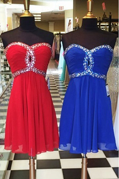 2019 Prom Dresses | Chiffon sweetheart sequins A-line short dress,mini cute dress for teens