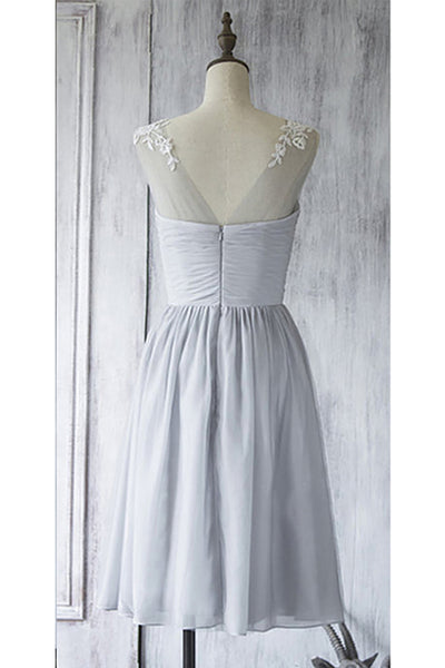 Prom 2020 | Gray chiffon see-through mesh  short A-line cheap prom dresses ,simple party dress for teens