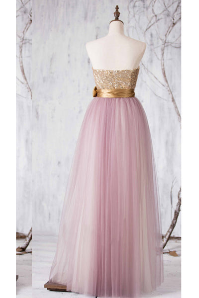 Pink tulle sweetheart sequins bowknot A-line long formal dresses for teens,princess dresses - Sweetheartgirls