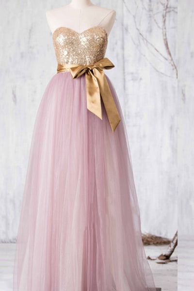 Pink tulle sweetheart sequins bowknot A-line long formal dresses for teens,princess dresses - occasion dresses by Sweetheartgirls