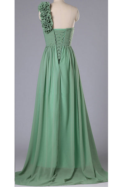 Green chiffon sweetheart one shoulder simple long bridesmaid dress,long evening dresses - occasion dresses by Sweetheartgirls