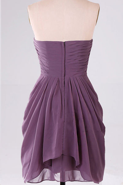 Prom 2020 | Plum chiffon sweetheart short A-line cheap prom dresses ,simple party dress for teens