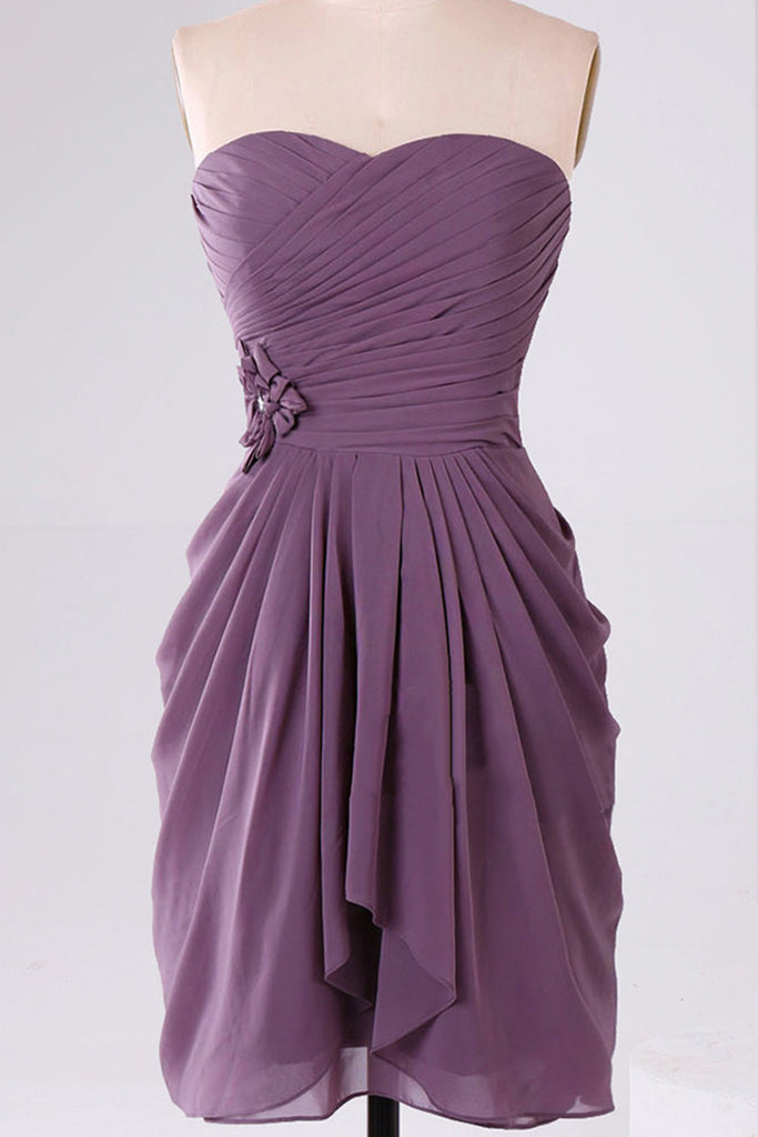 Plum chiffon sweetheart short A-line cheap prom dresses ,simple party dress for teens - occasion dresses by Sweetheartgirls