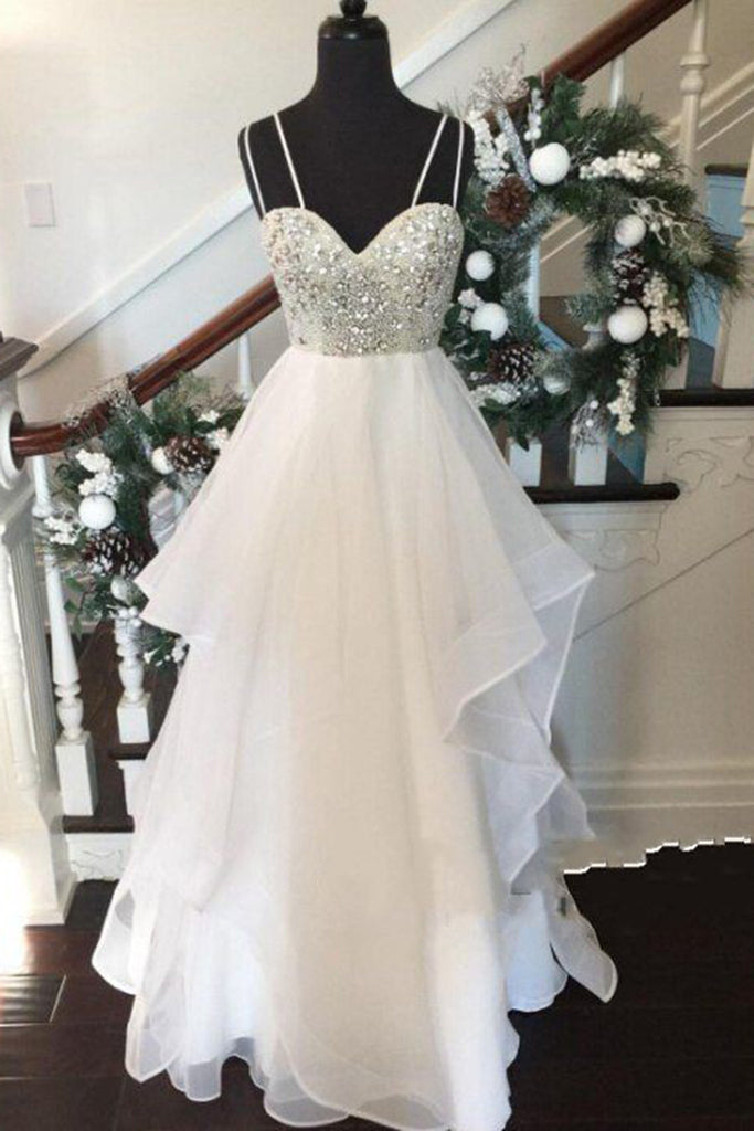 White chiffon tiered V-neck beading long evening dresses,simple prom dress with spaghetti straps - prom dresses 2018