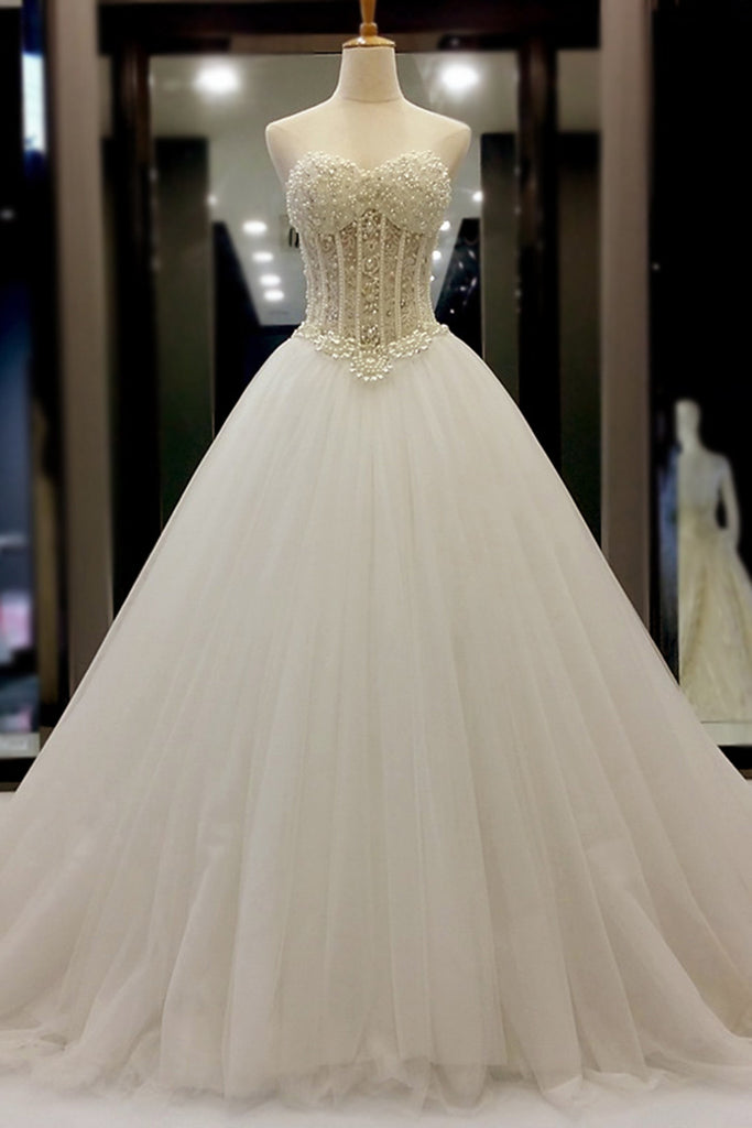 Prom 2020 | White organza sweetheart beading pearl A-line long prom dresses, wedding dresses