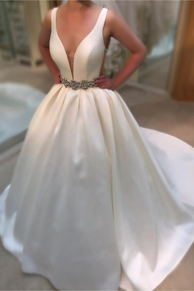Prom 2020 | Ivory satins V-neck sequins beading A-line long prom dresses ,elegant evening dresses