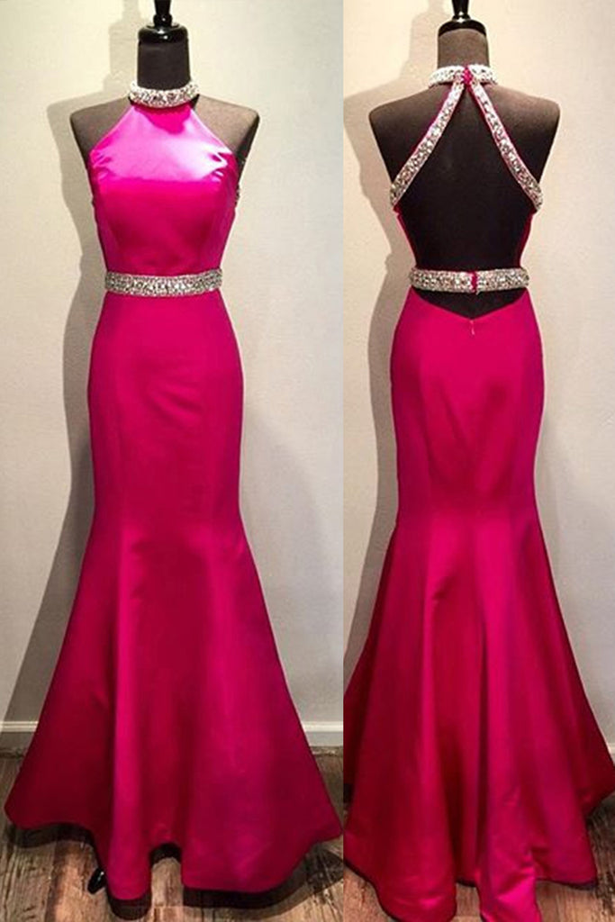 Rosy chiffon halter sequins A-line simple mermaid long prom dresses ,evening dresses - occasion dresses by Sweetheartgirls