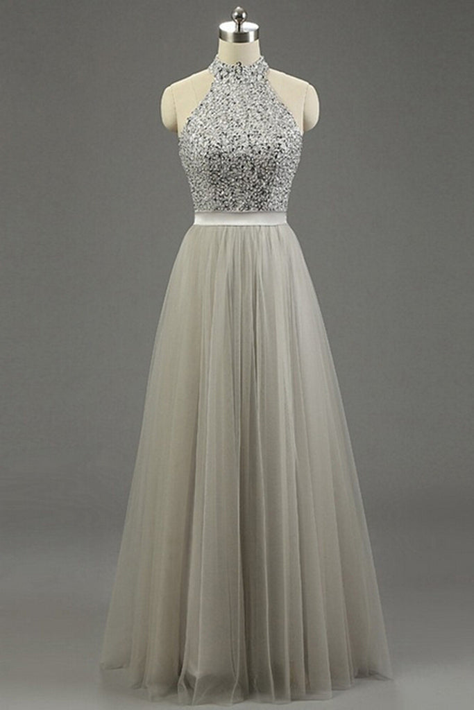 Gray Tulle Halter Sequins A Line Long Evening Dresses Simple Prom Dress For Teenagers