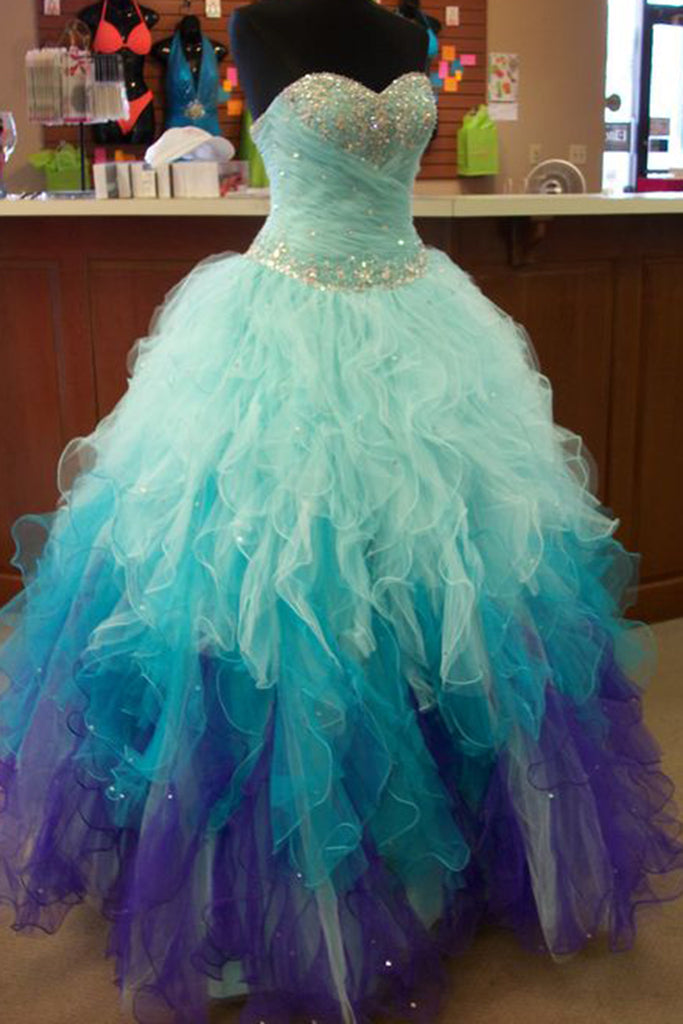 Blue & purple organza sweetheart sequins A-line long prom dresses ...
