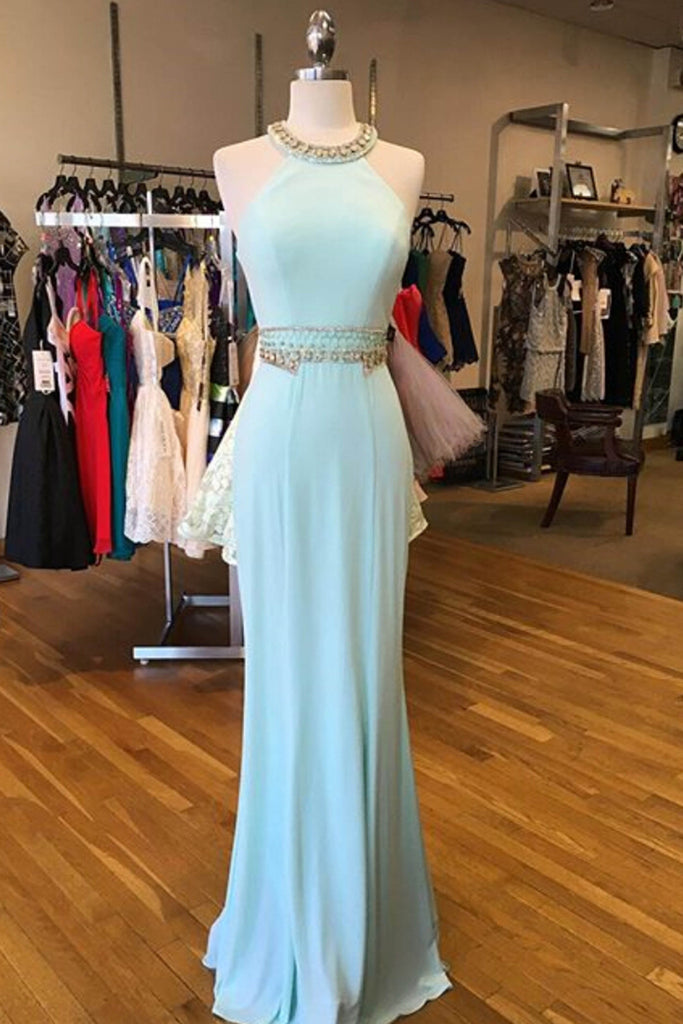 2018 evening gowns - Light blue chiffon slim-line halter beading dresses,formal dresses for teens