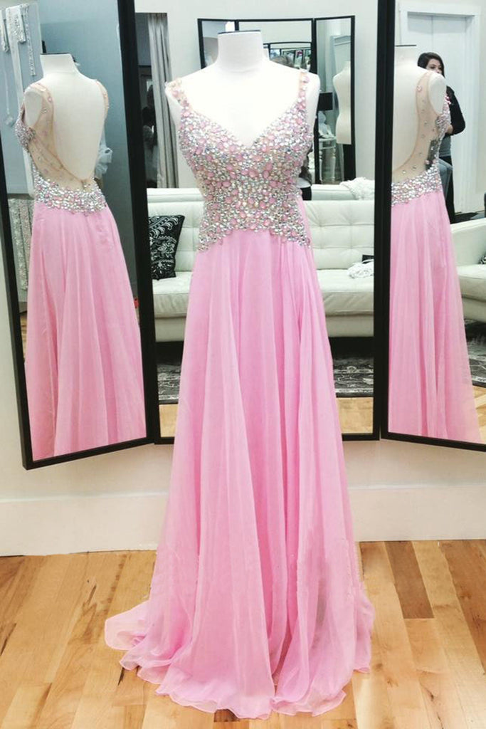 Pink chiffon V-neck rhinestone beading open back long evening dresses,simple prom dress - occasion dresses by Sweetheartgirls