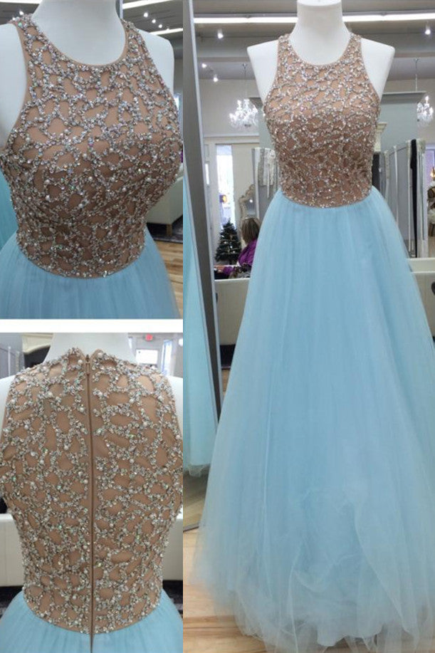 Light blue organza sequins round neck long evening dresses,cute A-line dress - prom dresses 2018