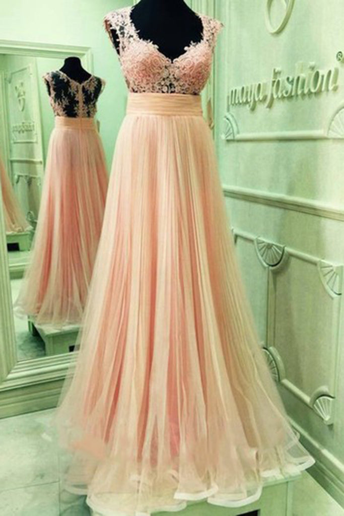 Prom 2020 | Light orange chiffon lace top V-neck see-through back full-length A-line long prom dresses