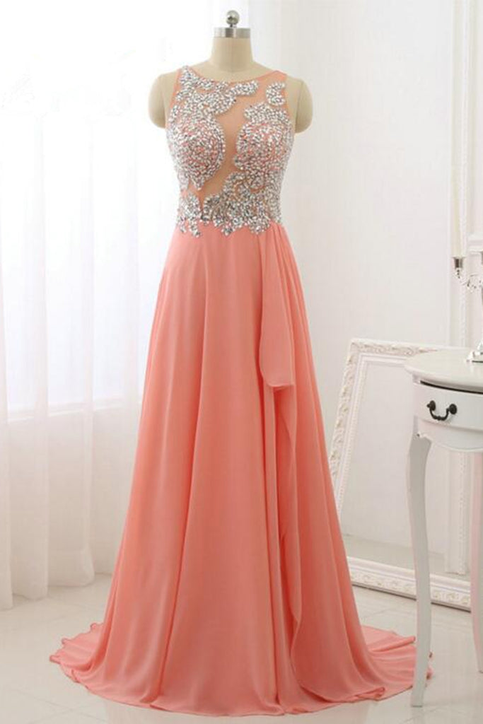 Light orange chiffon sequins beading see-through A-line long dress,princess formal dress - occasion dresses by Sweetheartgirls