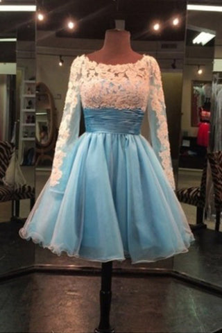 2018 evening gowns - Baby blue cute organza round neck lace short prom dresses for teens with long sleeves