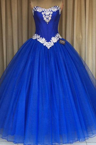 2018 evening gowns - Navy blue organza sweetheart lace sequins long A-line dresses, ball gown dress