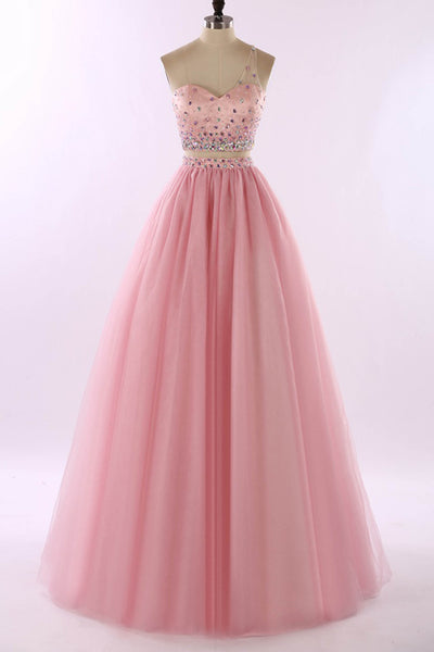Sweet 16 Dresses | Pink tulle two pieces one shoulder beading V-neck long prom dresses, evening dresses
