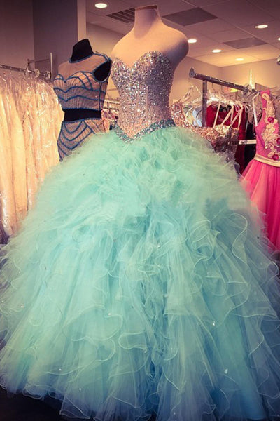 Baby blue organza sweetheart sequins long prom dresses,ball gown dresses - prom dresses 2018