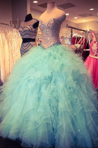 Baby blue organza sweetheart sequins long prom dresses,ball gown dresses - occasion dresses by Sweetheartgirls