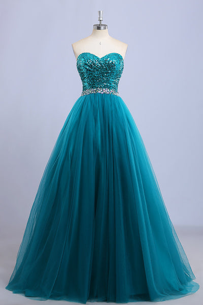 2018 evening gowns - Light teal organza sweetheart sequins beading long prom dresses, evening dresses