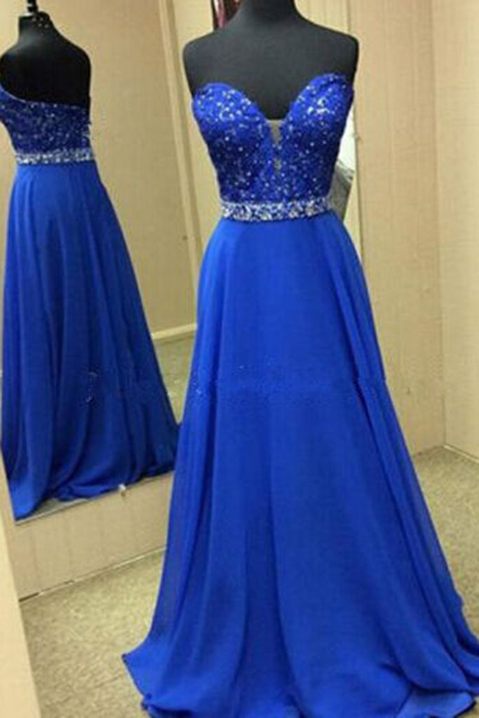 Prom 2020 | Navy blue chiffon sweetheart  sequins long evening dresses,simple prom dress for teenagers