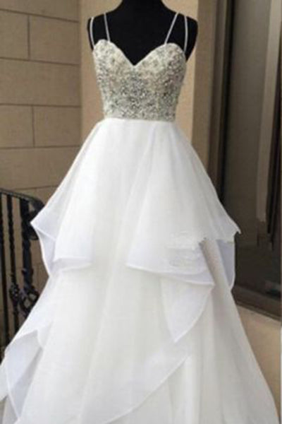 Sweet 16 Dresses | White chiffon tiered V-neck beading long evening dresses,simple prom dress with spaghetti straps