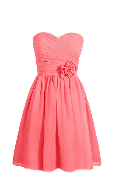 2019 Prom Dresses | Coral  chiffon sweetheart A-line short dresses,strapless casual dresses