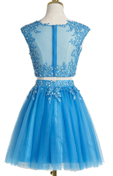 Sky blue tulle two pieces lace O-neck see-through short prom dresses,  sexy party dresses - prom dresses 2018