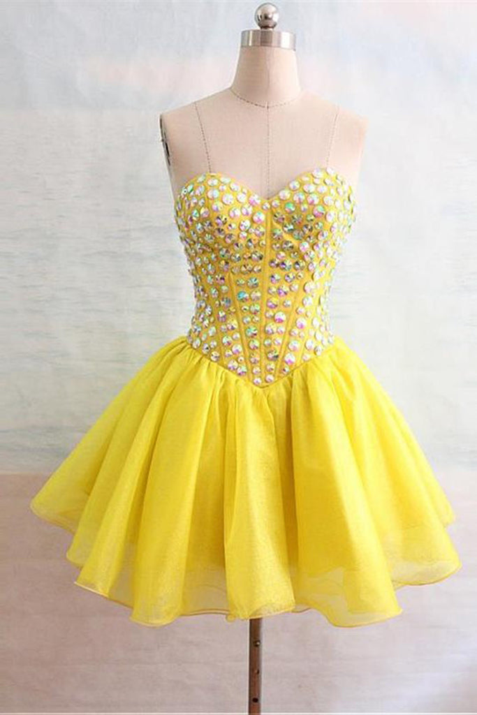 Yellow chiffon sweetheart beading rhinestone short prom dresses for teens,club dress - Sweetheartgirls