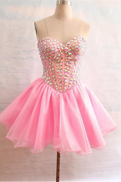 Pink chiffon sweetheart beading rhinestone short prom dresses for teens,club dress - occasion dresses by Sweetheartgirls