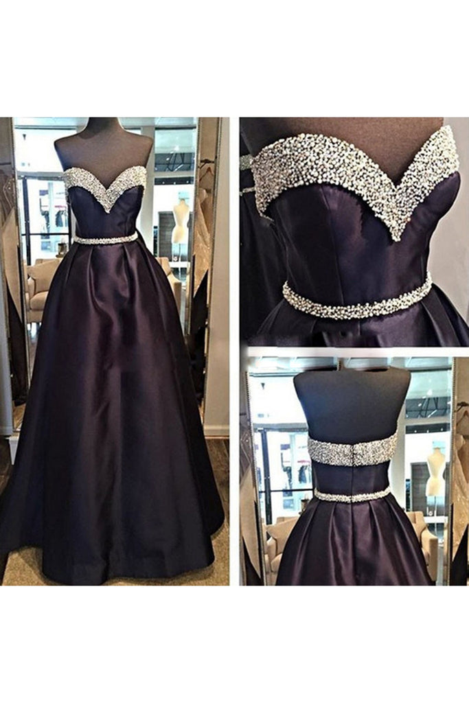 Chocolate satins A-line sequins sweetheart  long big size prom dresses  evening dress - prom dresses 2018