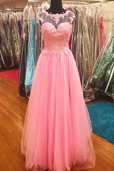 Sweet 16 Dresses | Pink tulle  round-neck sequins lace princess A-line long prom dresses graduation dress for teens