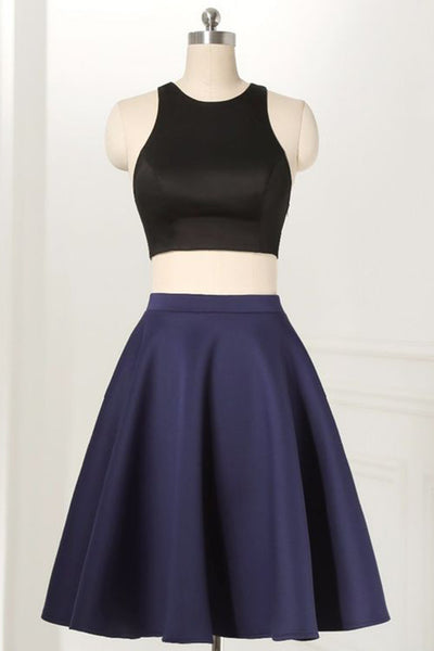 Prom 2020 | Dark blue satins two pieces tight top 0-neck short dresses,casual dress for teenagers