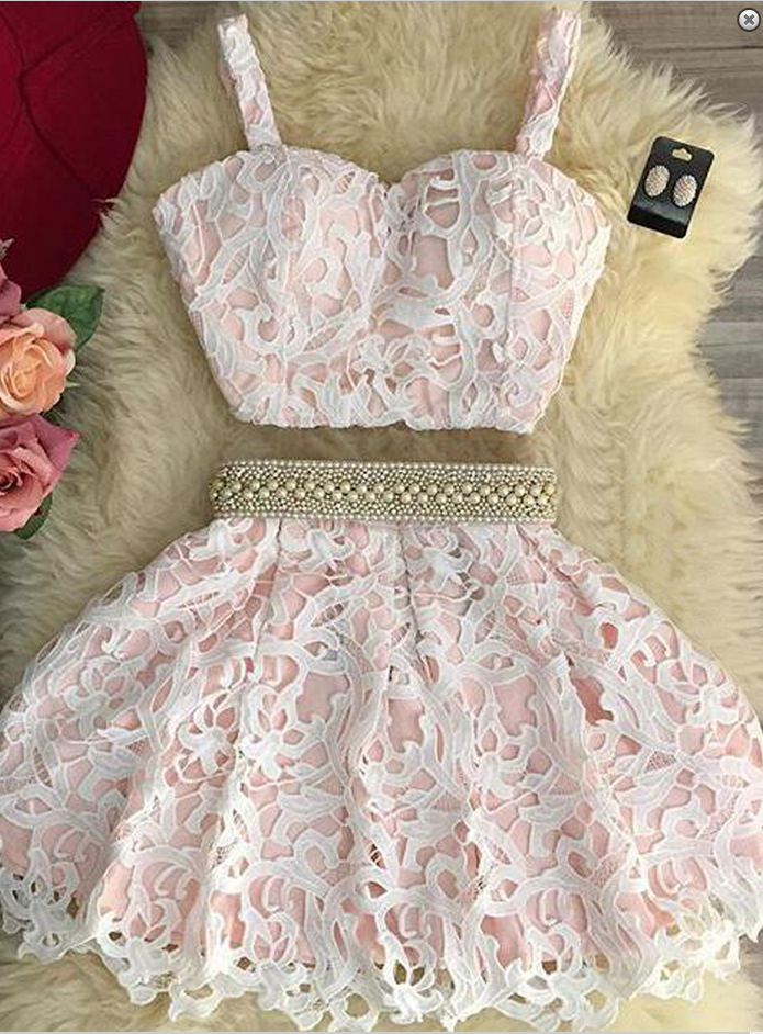 Cute lace pink two pieces pearl short party dress , casual dress with straps for teens - prom dresses 2018